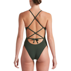Nike Swim Hydrastrong Solids Lace Up Tie Back One Piece Swimsuit Women galactic jade